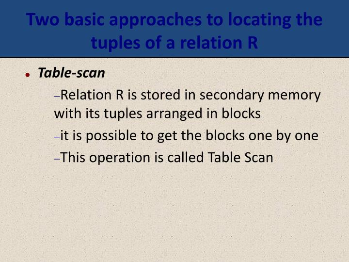 Two basic approaches to locating the tuples of a relation R