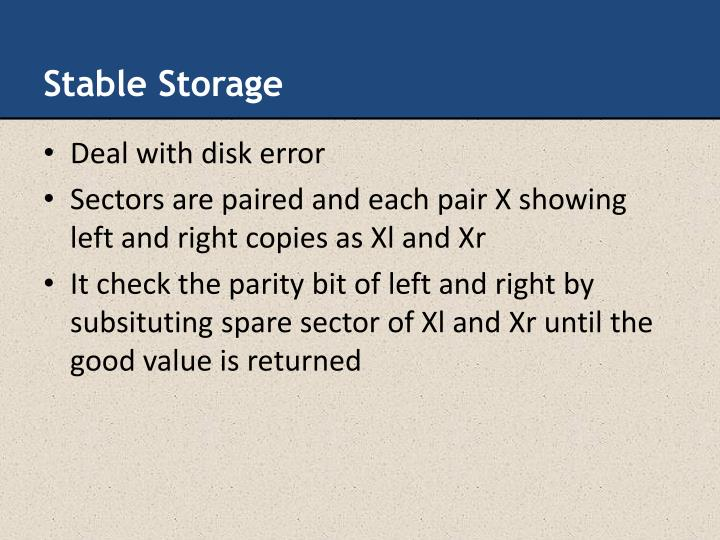Stable Storage
