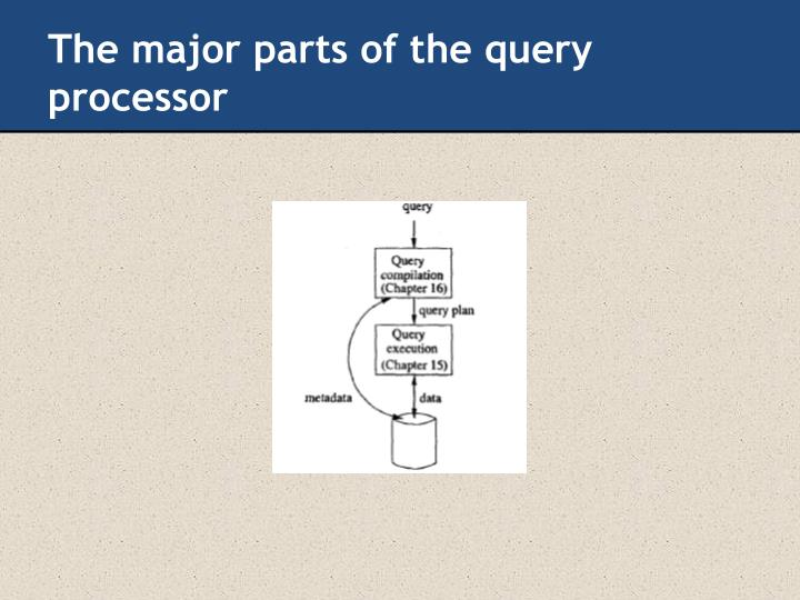 The major parts of the query processor
