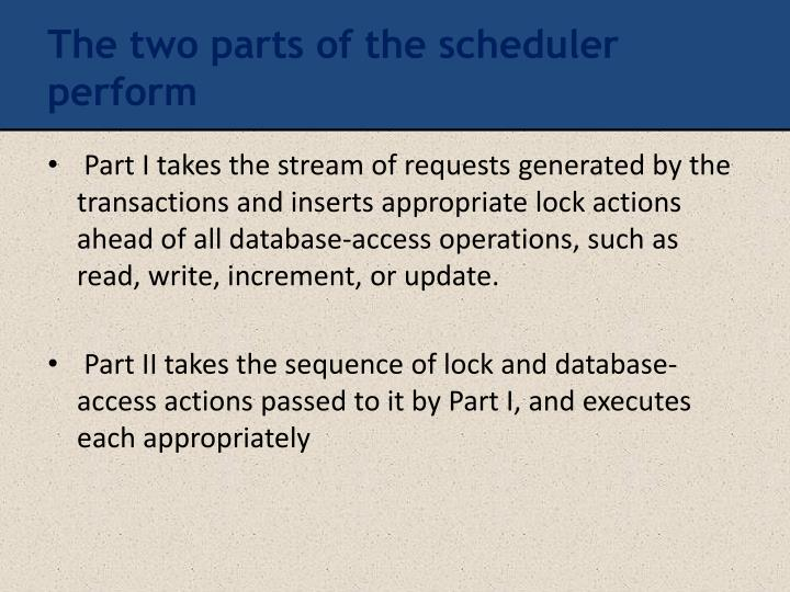 The two parts of the scheduler perform