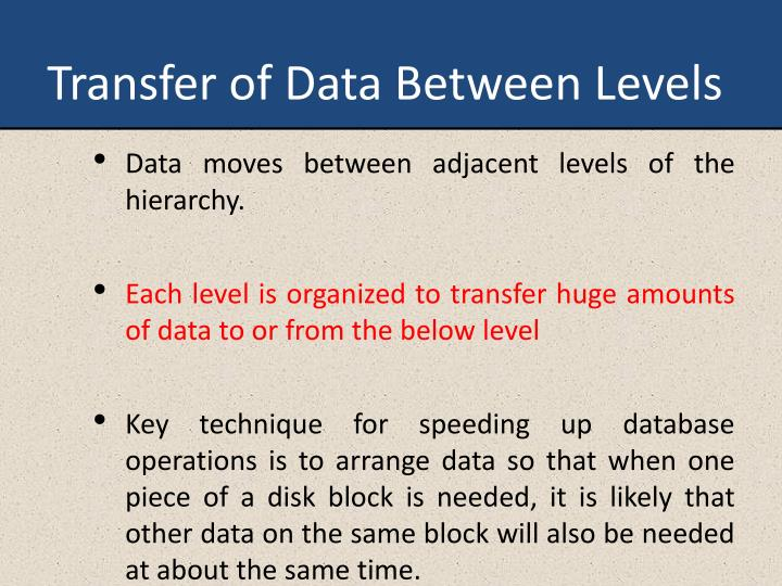 Transfer of Data Between Levels