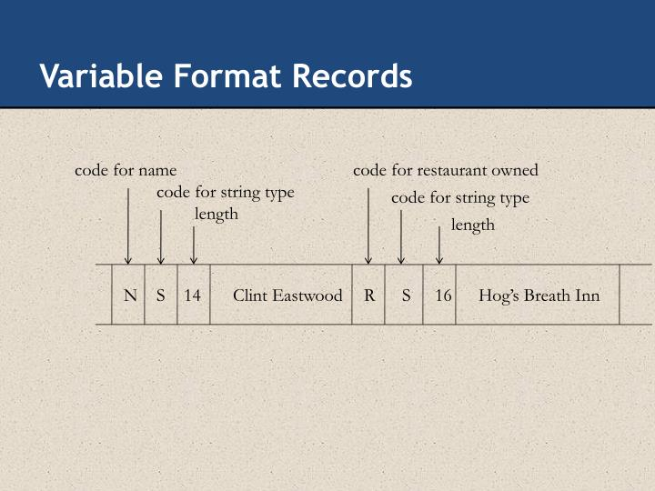 Variable Format Records
