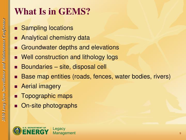 What Is in GEMS?