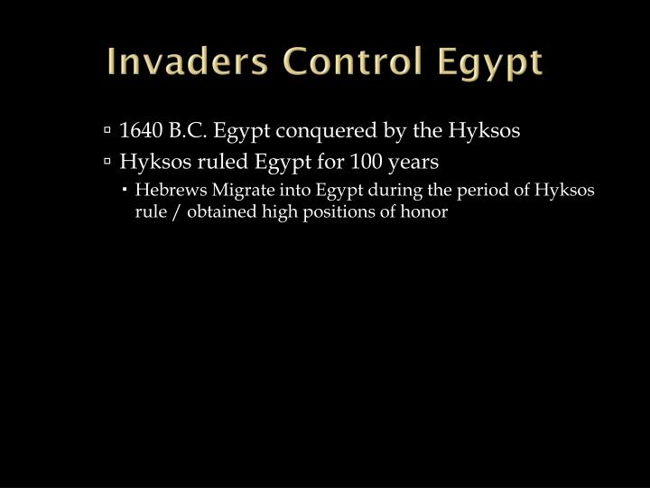 Invaders Control Egypt