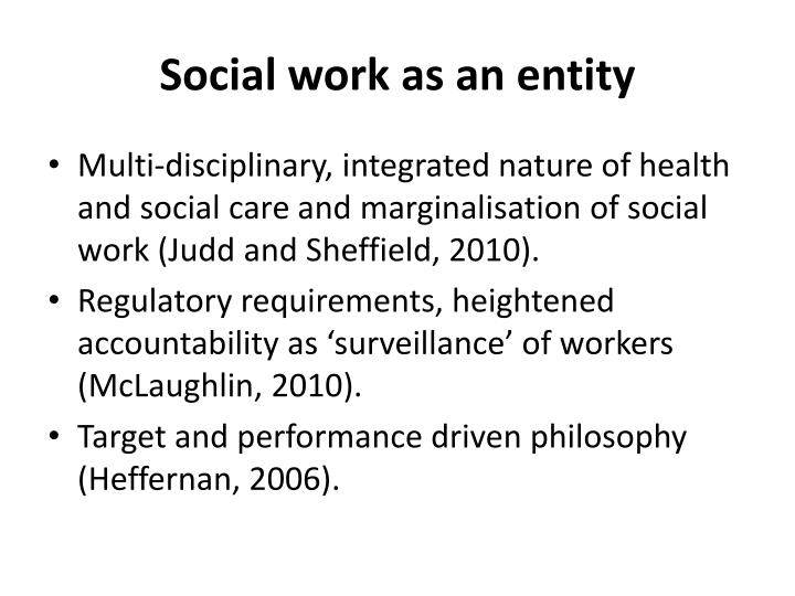 Social work as an entity