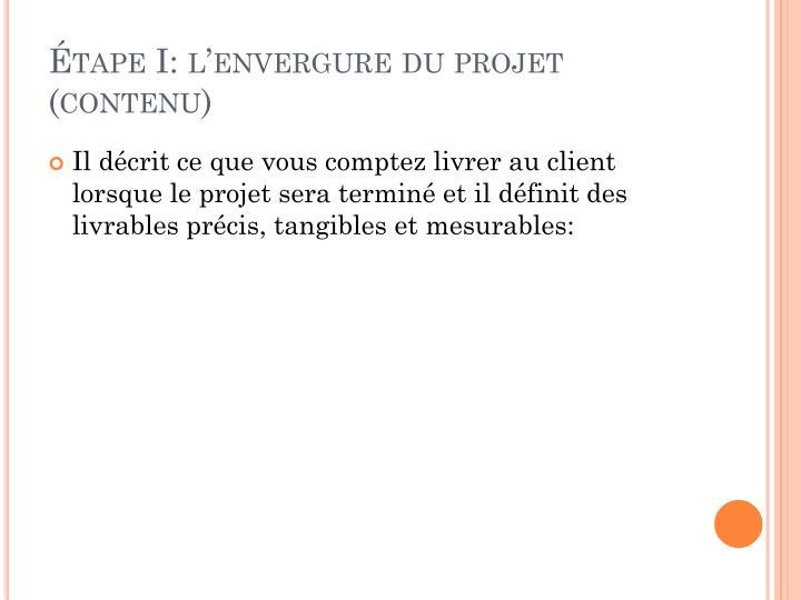 Étape I: l'envergure du projet (contenu)