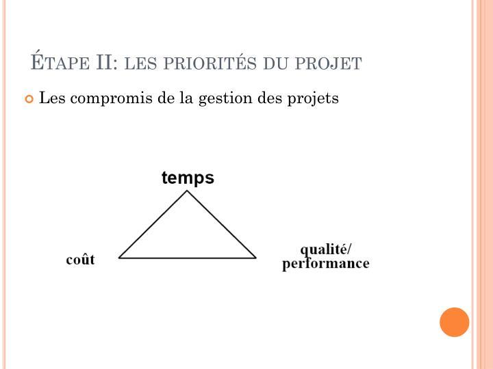 Étape II: les priorités du projet