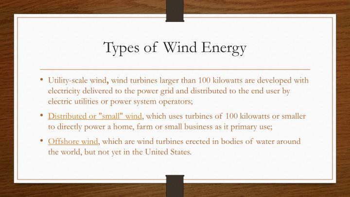 Types of Wind Energy