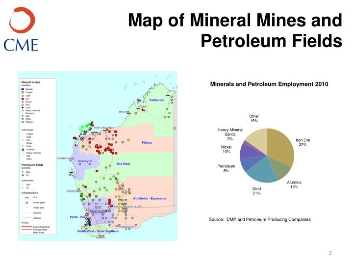 Map of Mineral Mines and Petroleum Fields