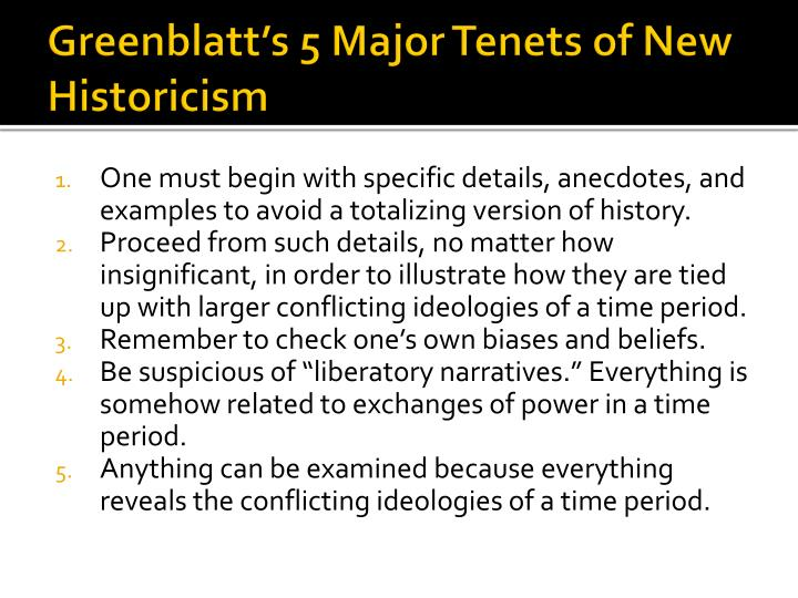 Greenblatt's 5 Major Tenets of New Historicism