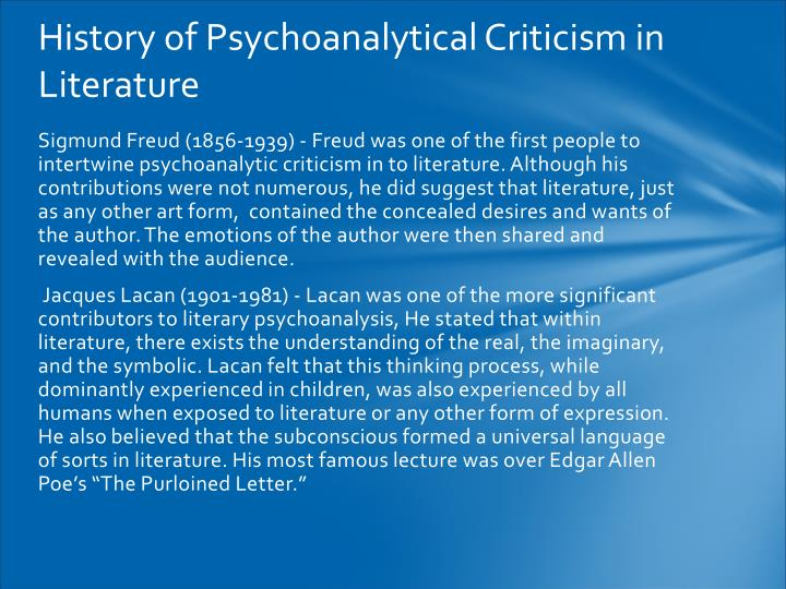 History of Psychoanalytical Criticism in Literature
