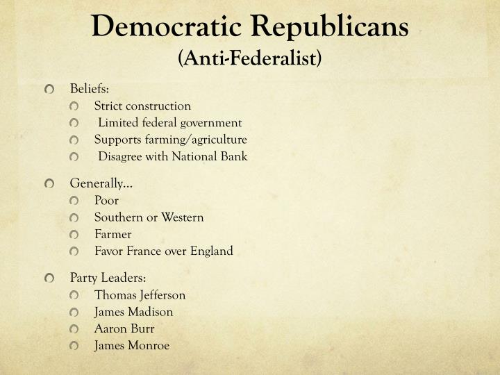 which party federalists or democratic Federalists vs democratic-republicans: america's first two-party system working with your partners, complete the chart using prior knowledge of.