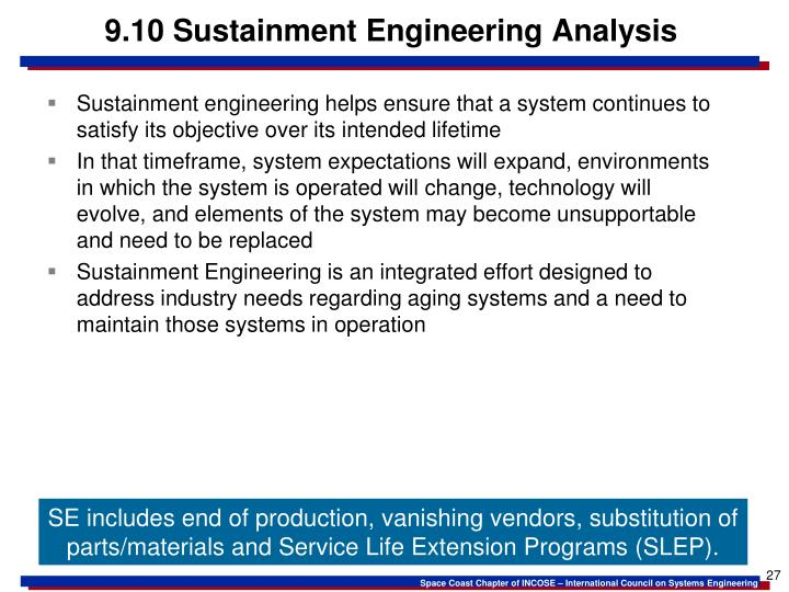 9.10 Sustainment Engineering Analysis