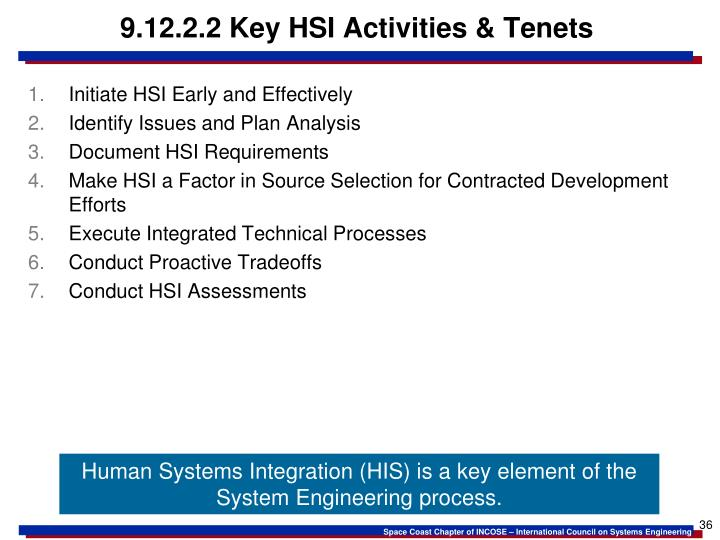 9.12.2.2 Key HSI Activities & Tenets