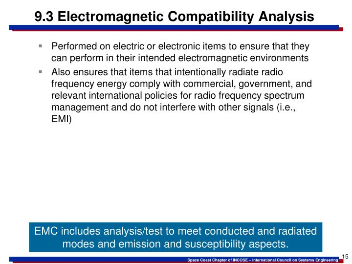 9.3 Electromagnetic Compatibility Analysis