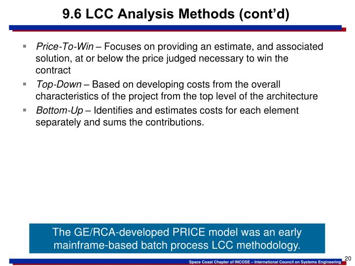 9.6 LCC Analysis Methods (cont'd)