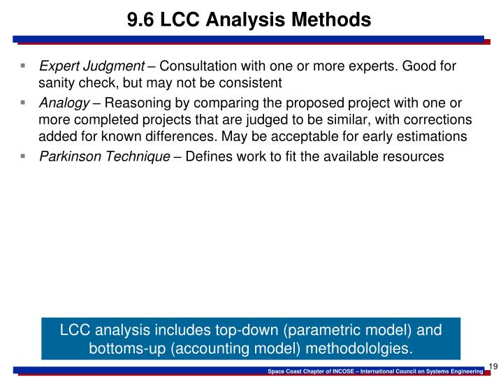 9.6 LCC Analysis Methods