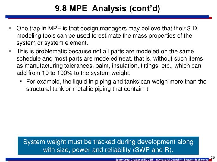 9.8 MPE  Analysis (cont'd)