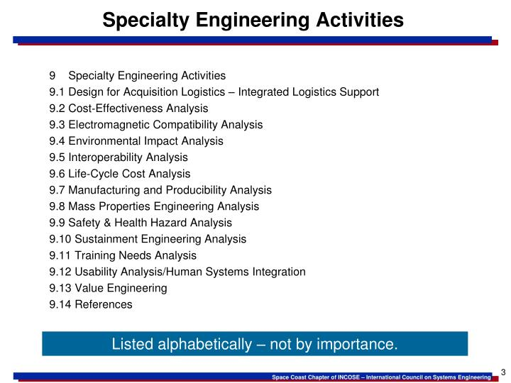 Specialty engineering activities