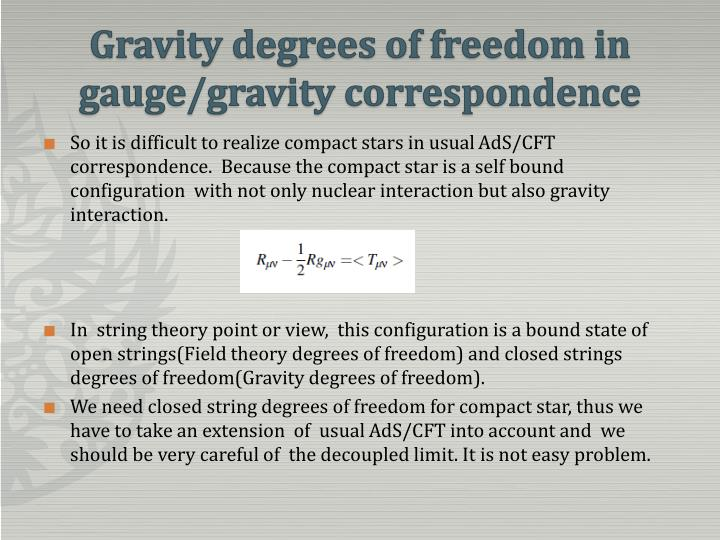 Gravity degrees of freedom in gauge/gravity correspondence