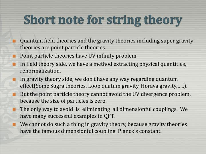 Short note for string theory