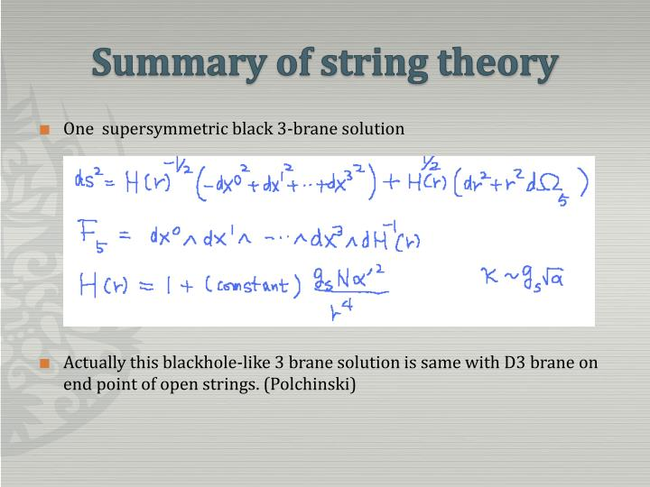 Summary of string theory