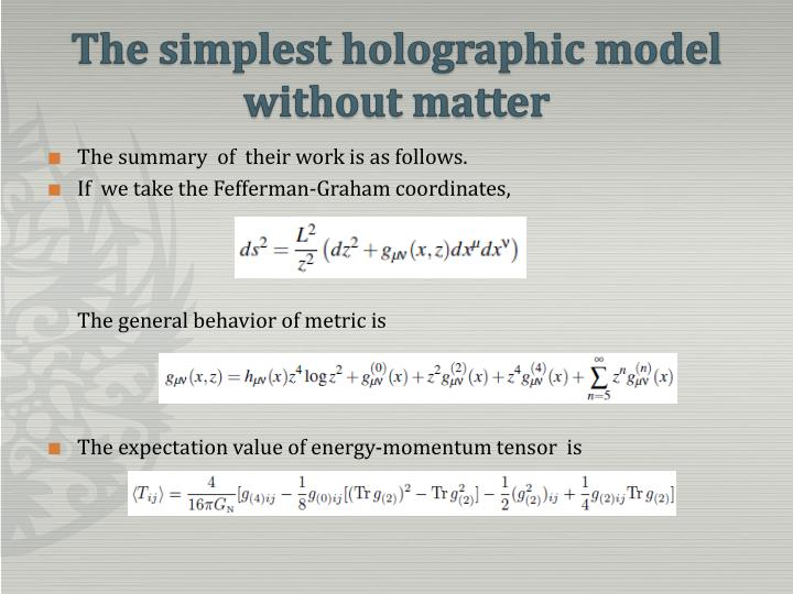 The simplest holographic model without matter