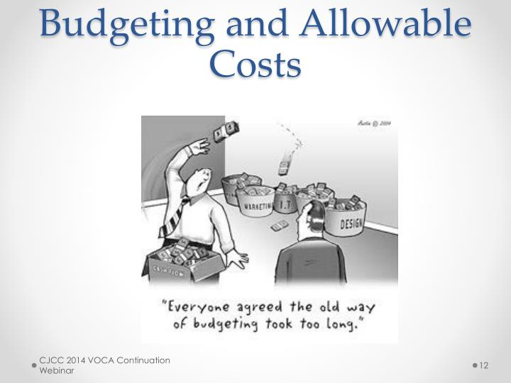 Budgeting and Allowable Costs