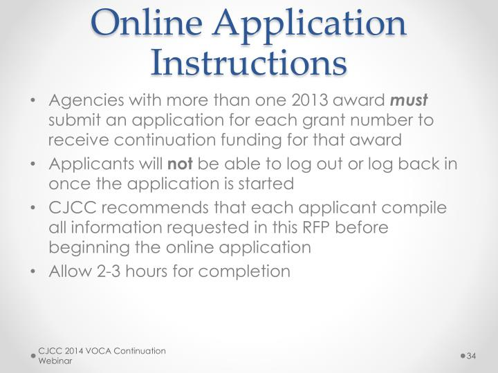 Online Application Instructions