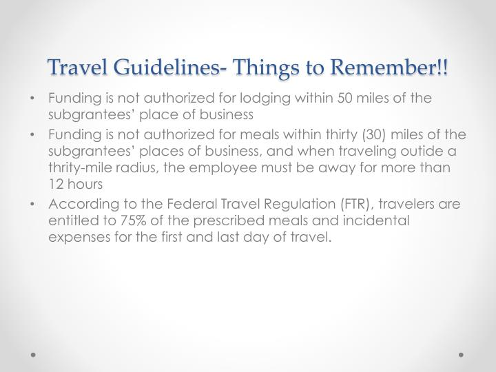 Travel Guidelines- Things to Remember!!