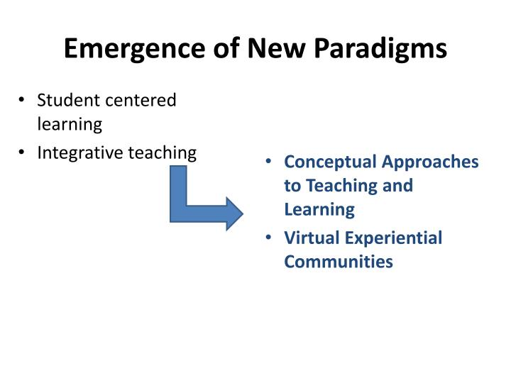 Emergence of New Paradigms