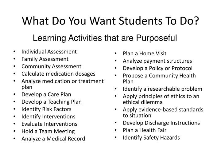 What Do You Want Students To Do?