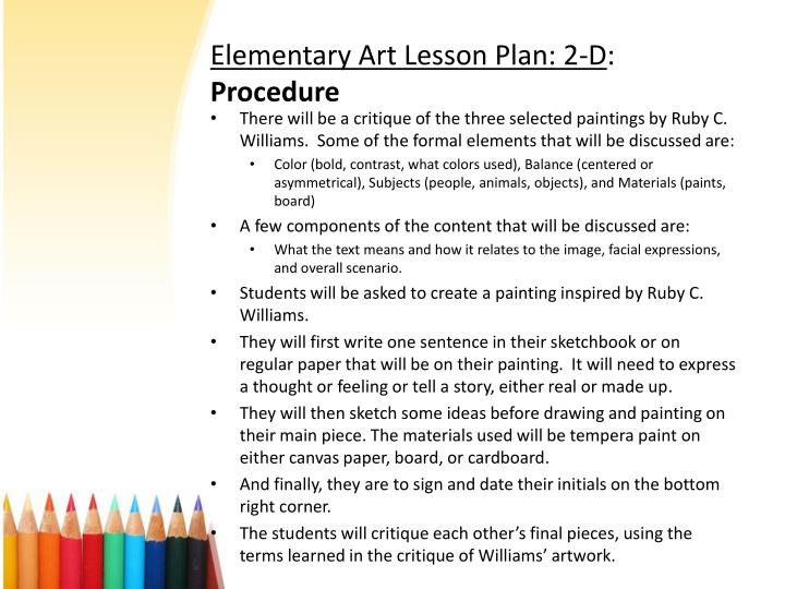 Elementary Art Lesson Plan: 2-D