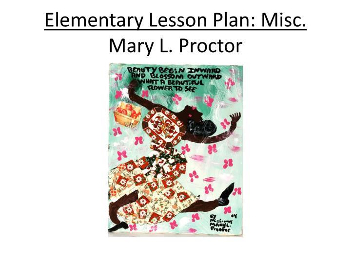 Elementary Lesson Plan: Misc.
