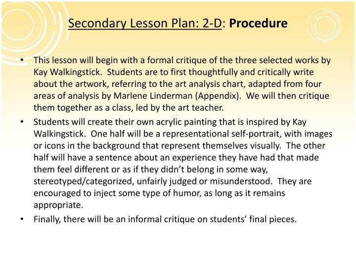 Secondary Lesson