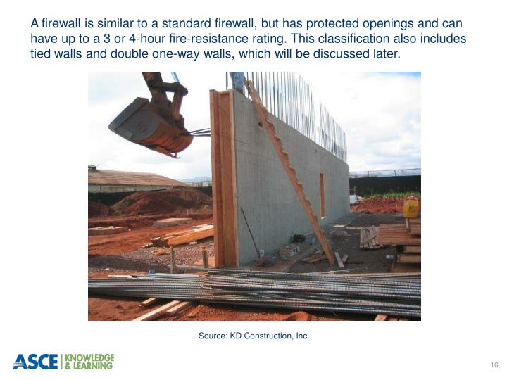 A firewall is similar to a standard firewall, but has protected openings and can have up to a 3 or 4-hour fire-resistance rating. This classification also includes tied walls and double one-way walls, which will be discussed later