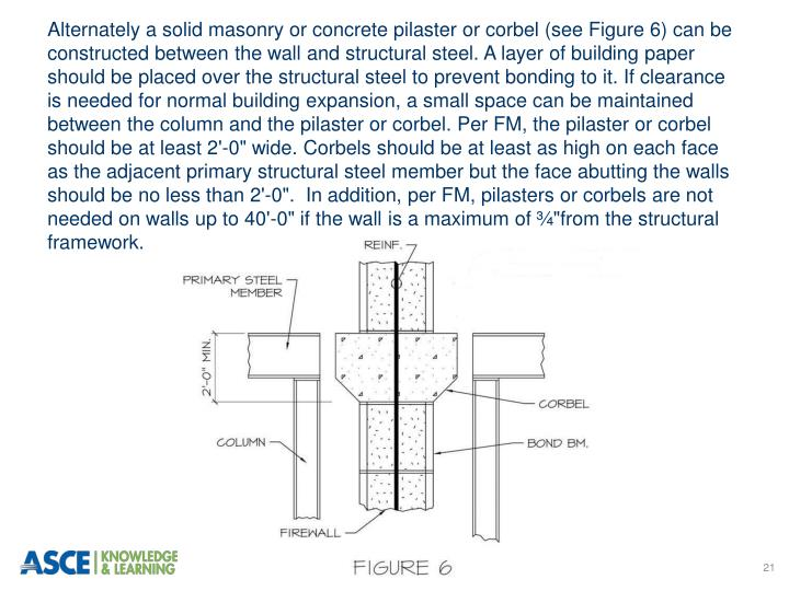 Alternately a solid masonry or concrete pilaster or corbel (see Figure 6) can be constructed between the wall and structural steel. A layer of building paper should be placed over the structural steel to prevent bonding to it. If clearance is needed for normal building expansion, a small space can be maintained between the column and the pilaster or corbel.