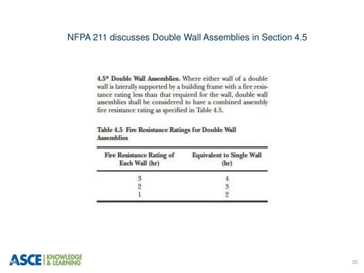 NFPA 211 discusses Double Wall Assemblies in Section 4.5