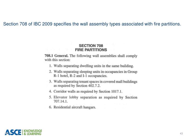 Section 708 of IBC 2009 specifies the wall assembly types associated with fire partitions.