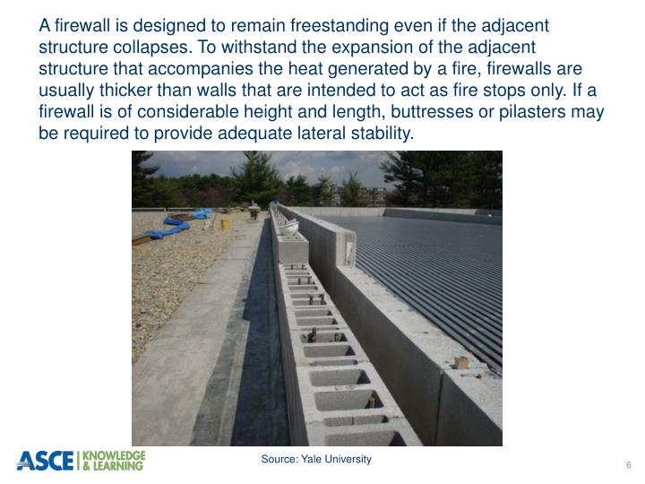 A firewall is designed to remain freestanding even if the adjacent structure collapses. To withstand the expansion of the adjacent structure that accompanies the heat generated by a fire, firewalls are usually thicker than walls that are intended to act as fire stops only. If a firewall is of considerable height and length, buttresses or pilasters may be required to provide adequate lateral