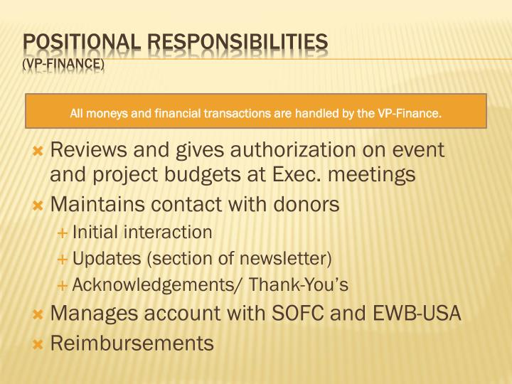 Reviews and gives authorization on event and project budgets at Exec. meetings