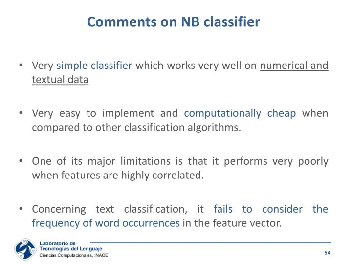 Comments on NB classifier