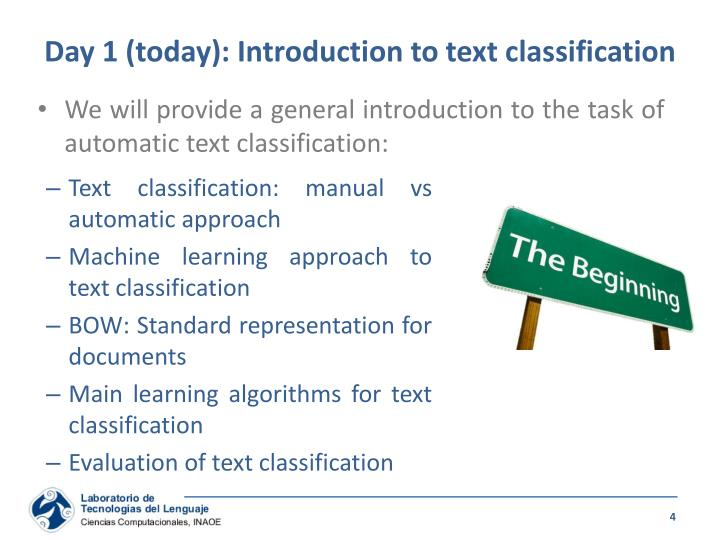 Day 1 (today): Introduction to text classification