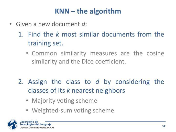 KNN – the algorithm