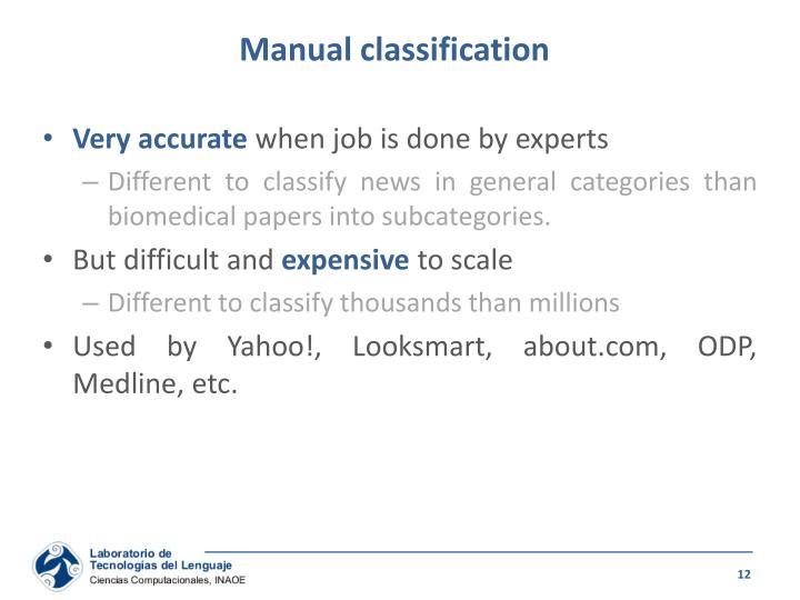 Manual classification