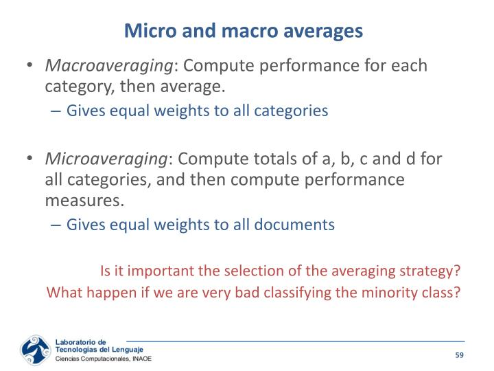 Micro and macro averages