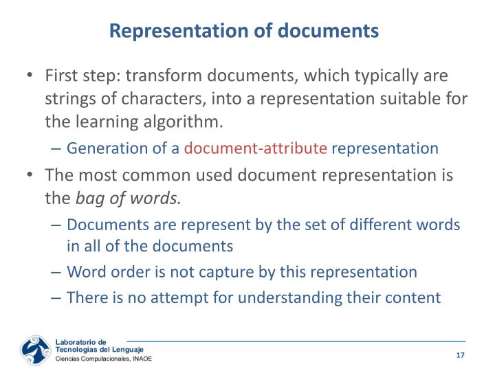 Representation of documents