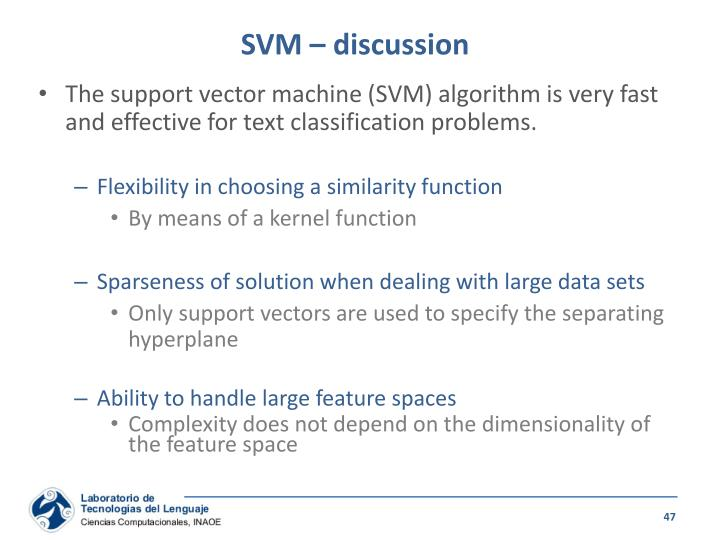 SVM – discussion