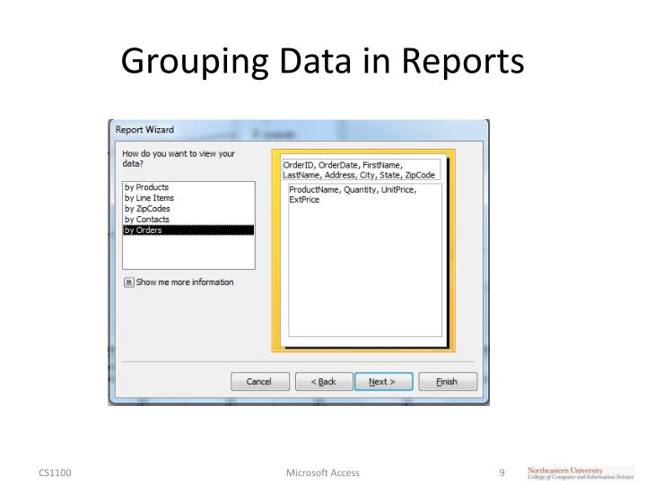 Grouping Data in Reports