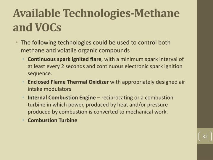 Available Technologies-Methane and VOCs